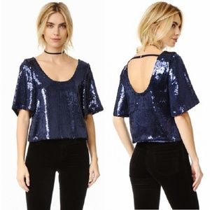 Free People Navy Sequin Night Fever Top NWT XS